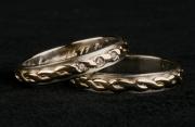 37 Abielusõrmused - kuld, palmikmuster, briljandid