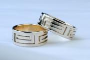 11 Abielusõrmused - valge kuld, kuld, kreeka mustriga
