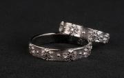 2 Abielusõrmused - valge kuld, lille muster